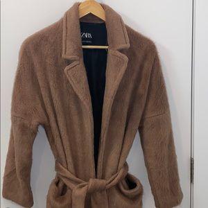 Zara ceamel belted long coat